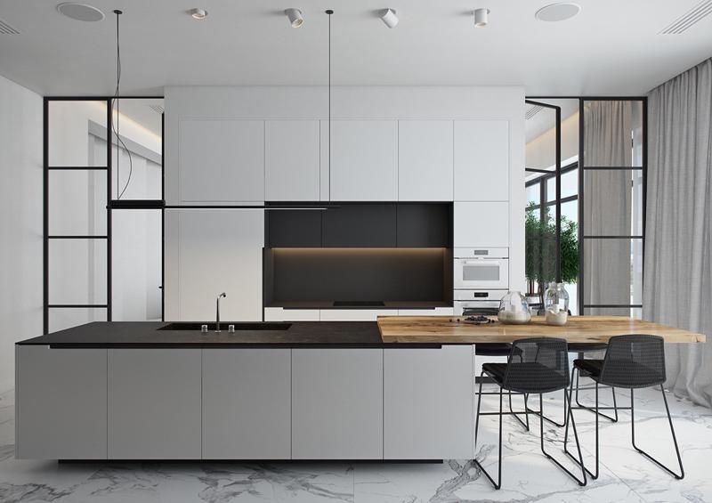 cozinha branca e preta comprido