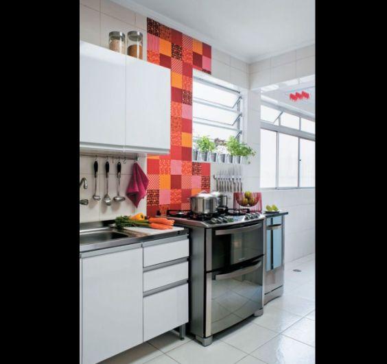 revestimento para parede de cozinha vermelho