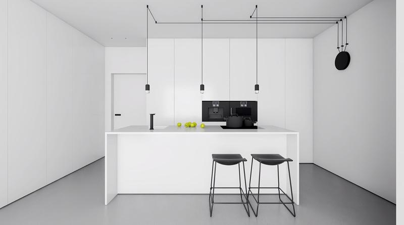 cozinha branca e preta comum