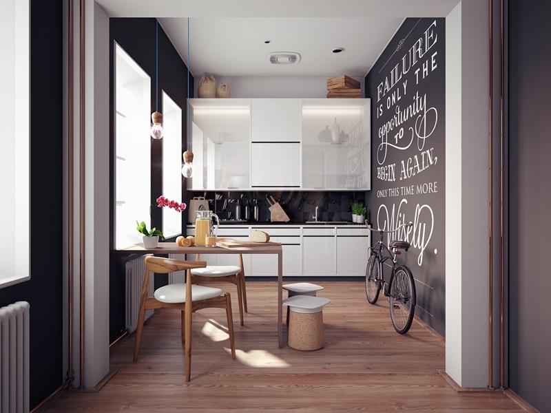 cozinha branca e preta criativa