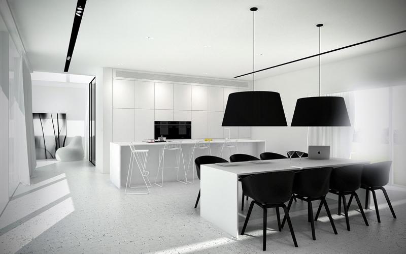 cozinha branca e preta iluminada