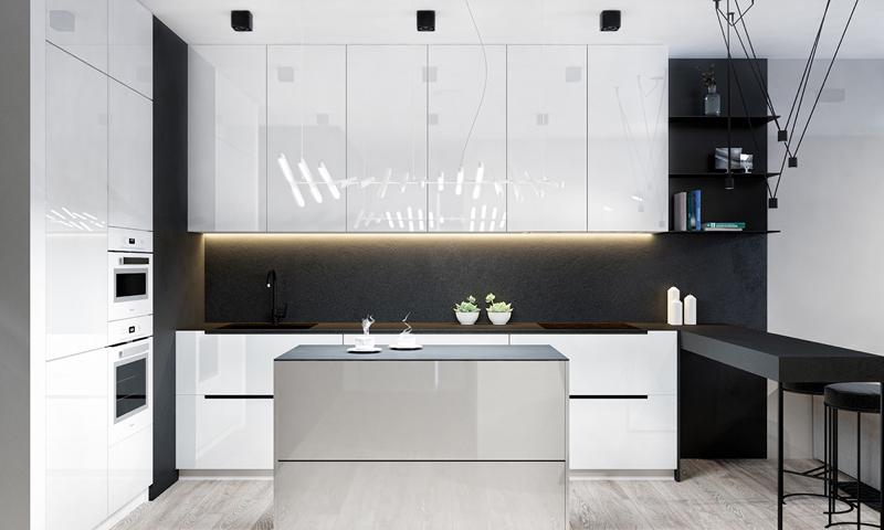 cozinha branca e preta com iluminação