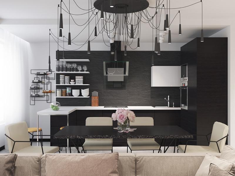 cozinha branca e preta com lustre