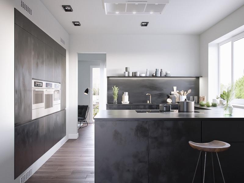 cozinha branca e preta longa