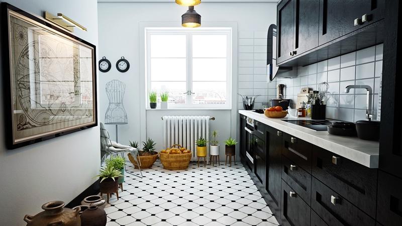 cozinha branca e preta retro