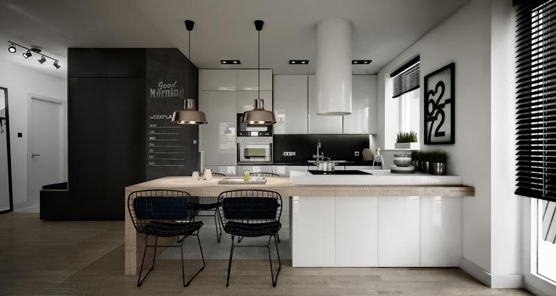 cozinha branca e preta com balcão