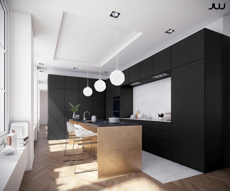 cozinha branca e preta com janelas grandes