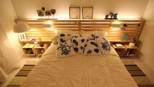 decoração com paletes e caixotes cama