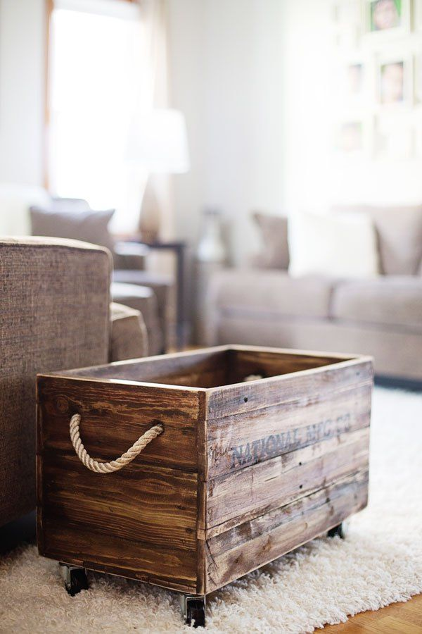 decoração com paletes e caixotes sala
