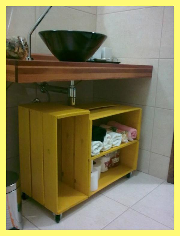 decoração com paletes e caixotes banheiro