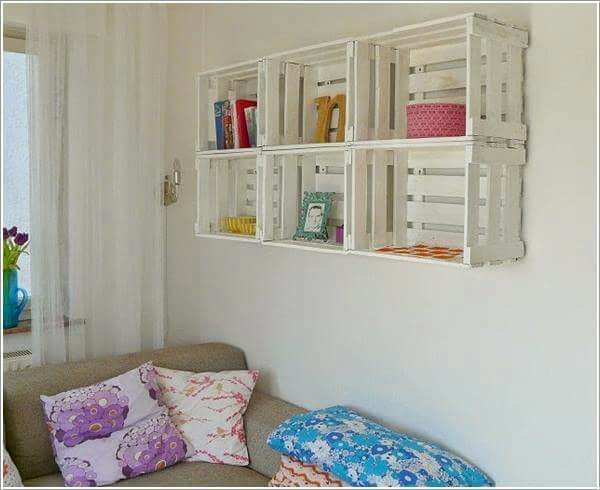 decoração com paletes e caixotes nichos