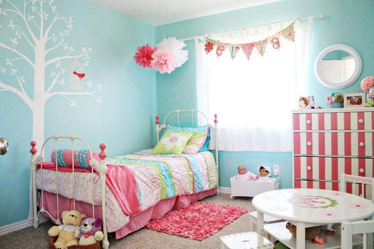 quarto de menina turquesa