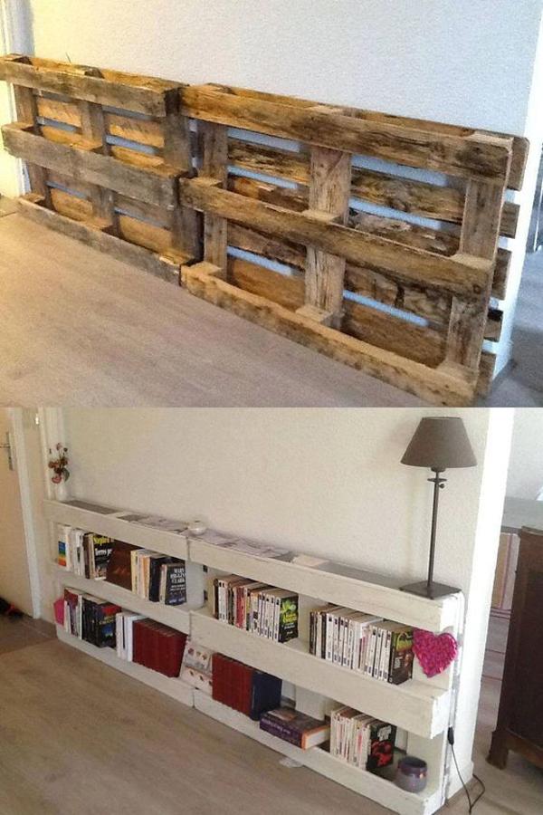 decoração com paletes e caixotes estante