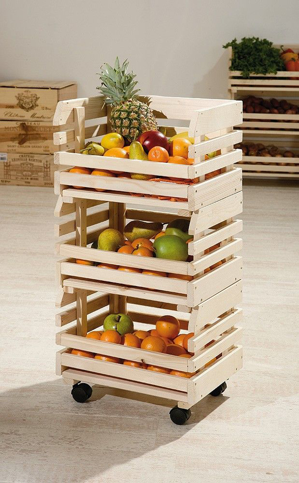 decoração com paletes e caixotes fruteira