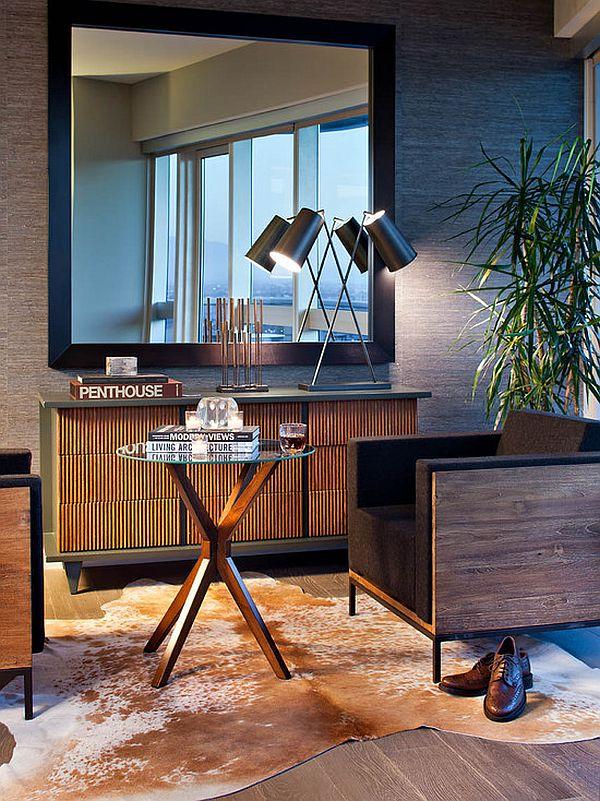 sala pequena com espelho quadrado