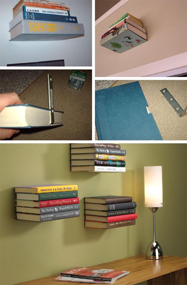 prateleira de quarto livros