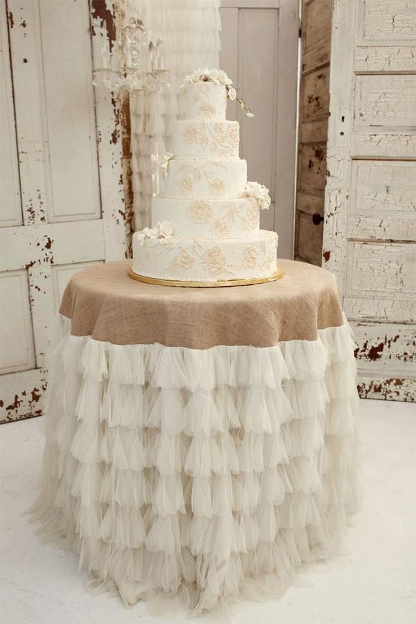 decoração com juta toalha do bolo
