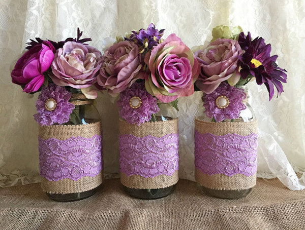 decoração com juta vasos