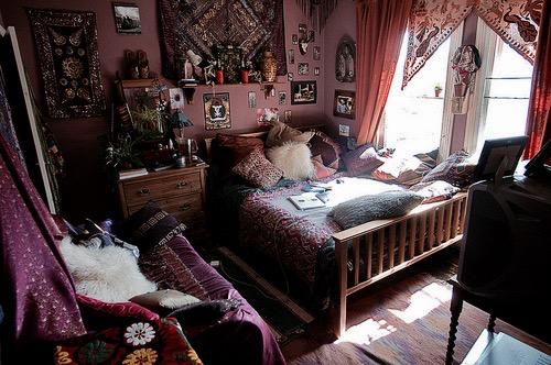 quarto hippie com pele