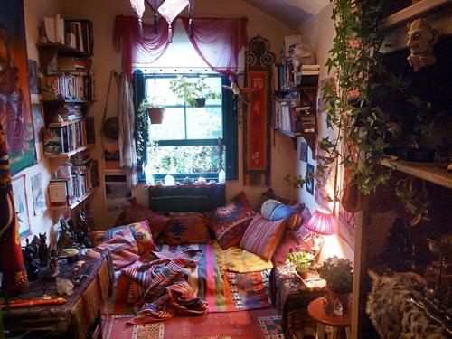 quarto hippie estampado