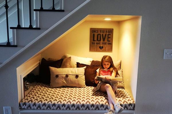 canto da leitura na escada