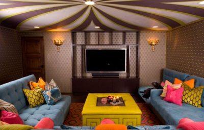 parede com tecido sala tv