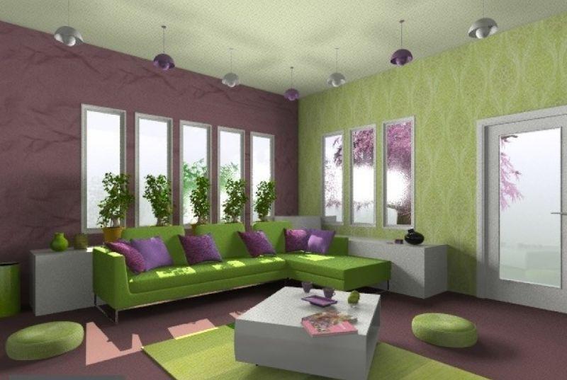cor para sala verde e lilas