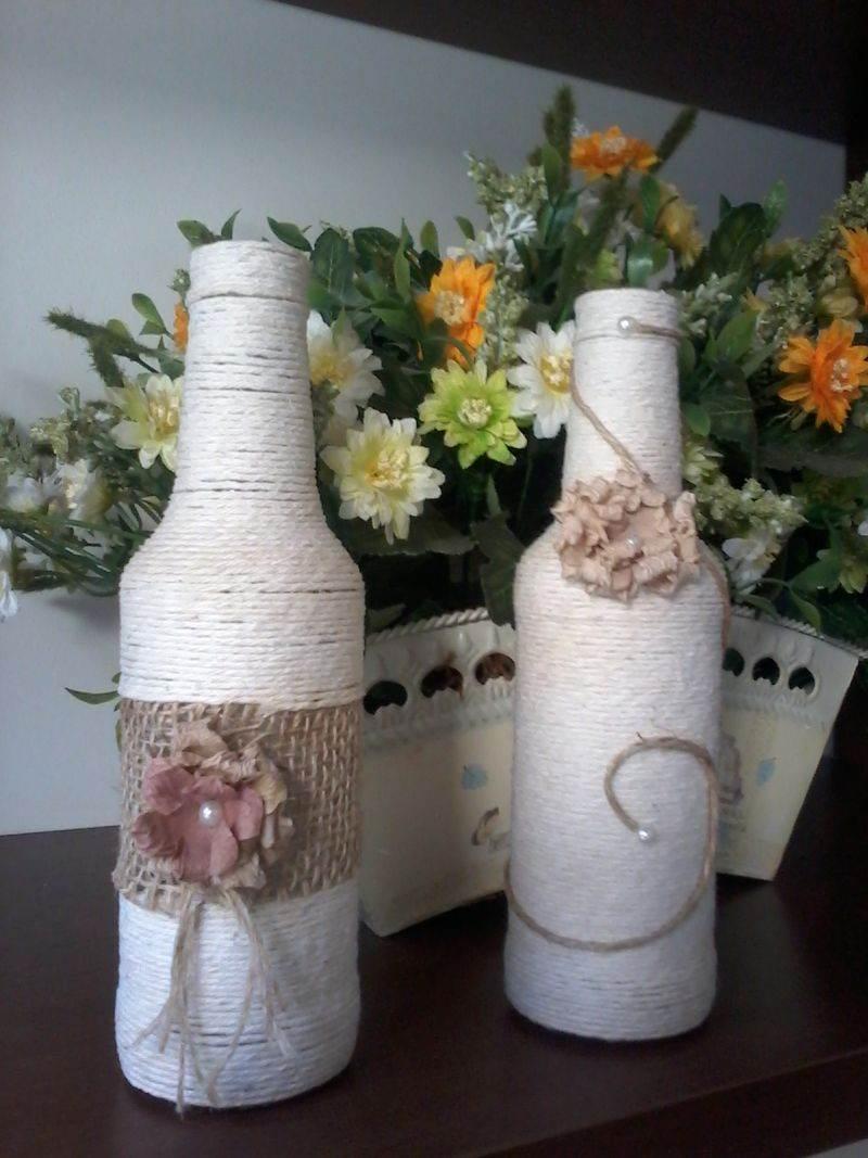 garrafa com decoração rustica