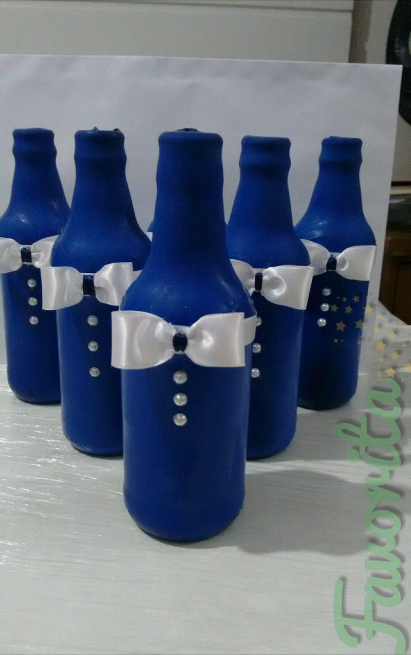 garrafa decorada com bexiga e fita