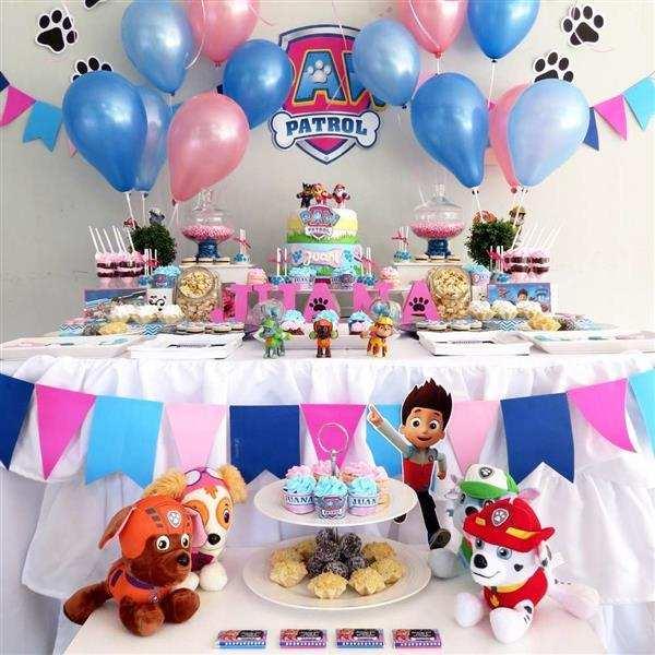 decoração patrulha canina rosa e azul