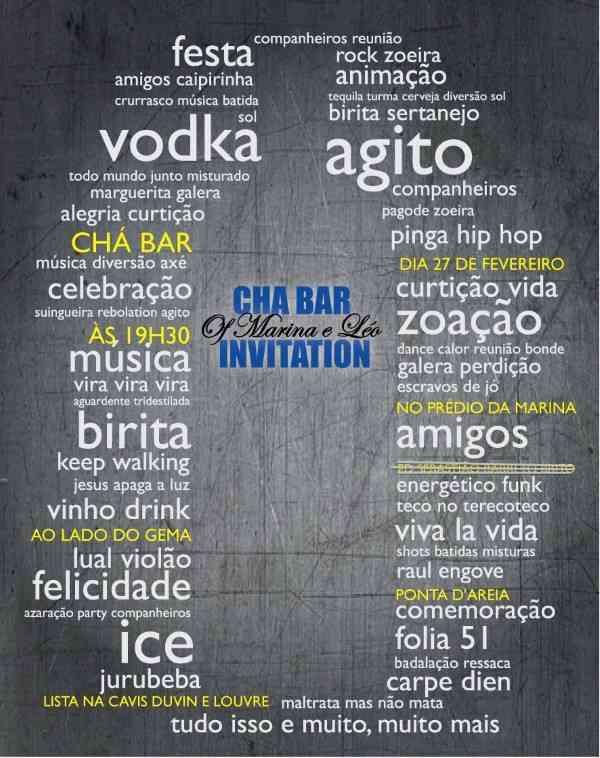 convite cha bar criativo