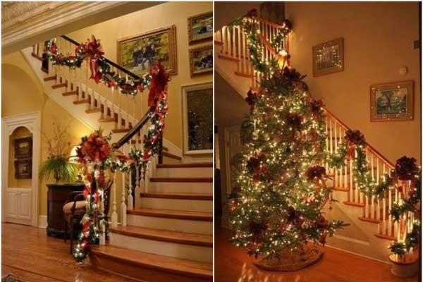Decoração natalina para escadas de sala
