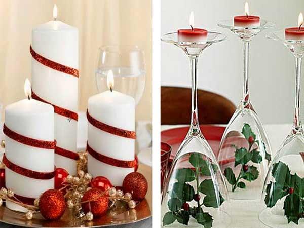 Decoração natalina velas e taças
