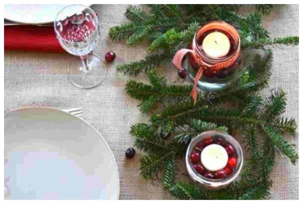 arranjo de vela natal copo