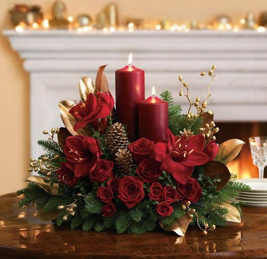 arranjo de natal feito de velas
