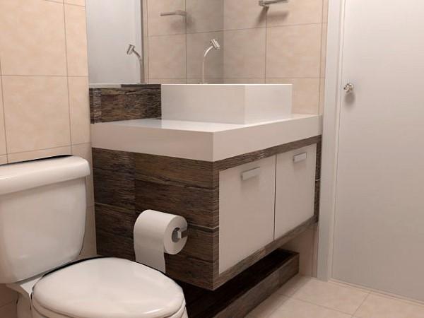 banheiro pequeno e simples pia de 1m