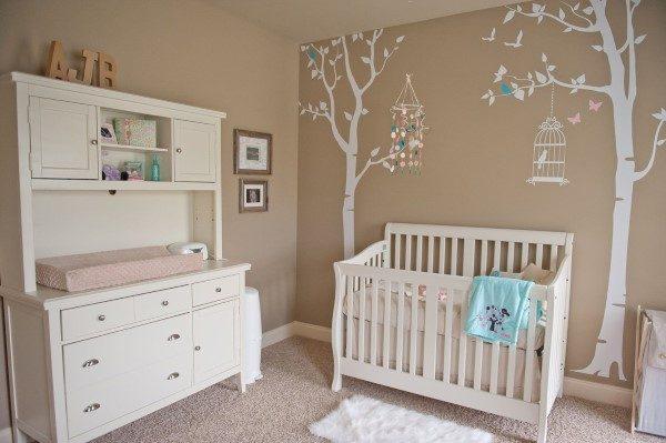 quarto de bebe simples e barato feminino pássaros