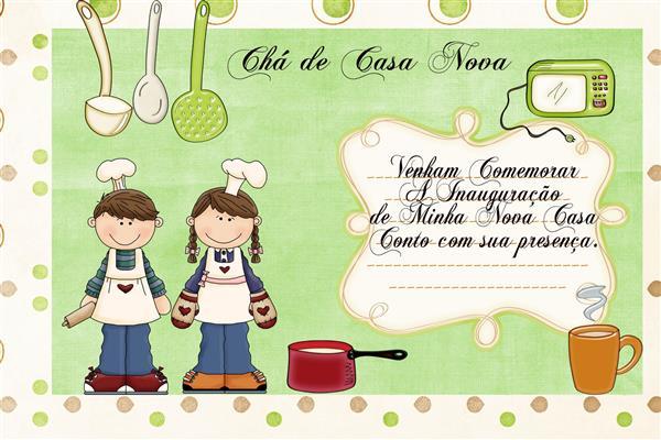 fotos de convites de chá de casa nova