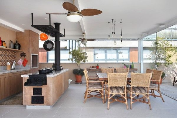 espaço gourmet fogão a lenha