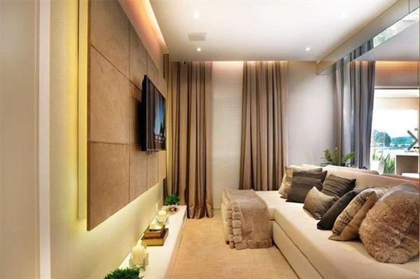 sala decorada com painel
