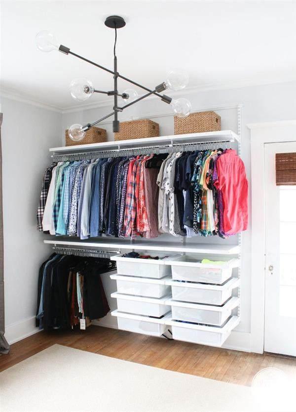 closet aberto com gavetas
