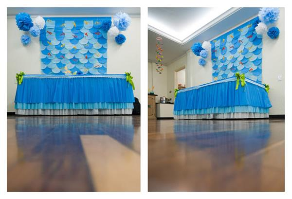 cortina de papel crepom azul