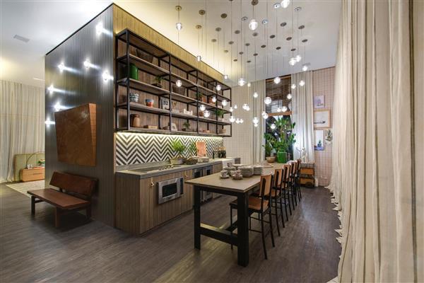 cozinha gourmet com luminarias
