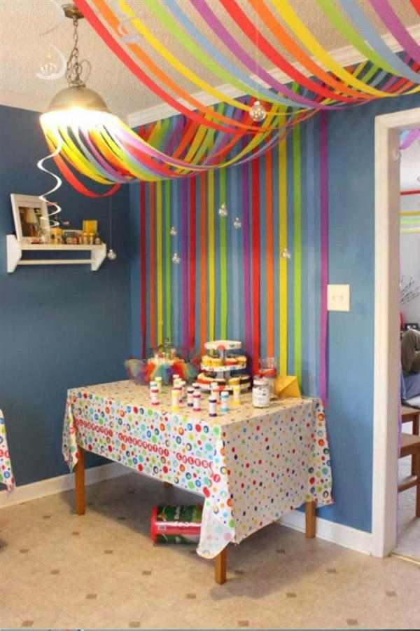 decoração infantil com papel crepom