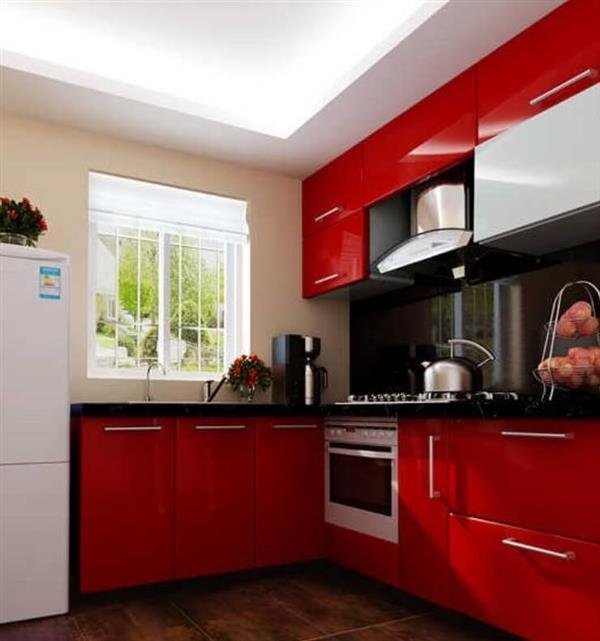 cozinha em preto e vermelho
