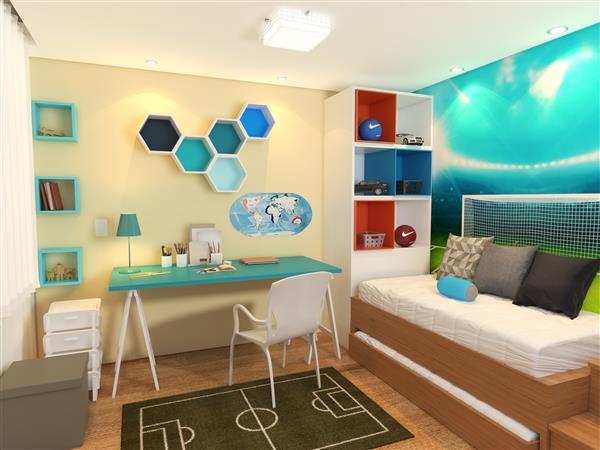 quarto decorado com tema futebol