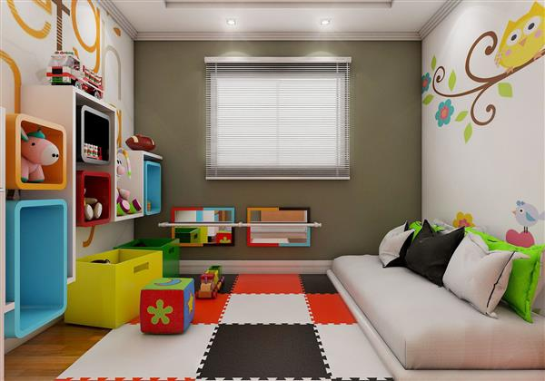 quarto infantil com nichos na parede