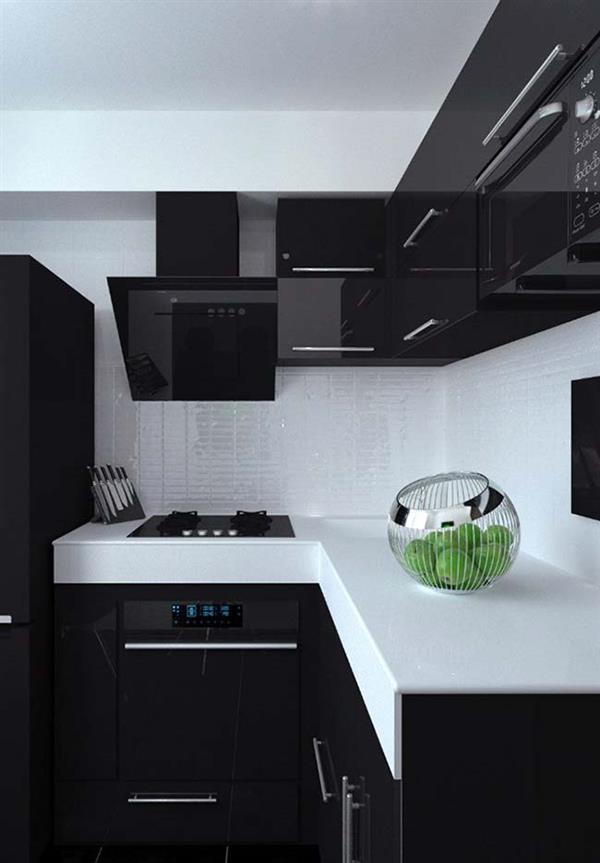 cozinha grande com bancada branca