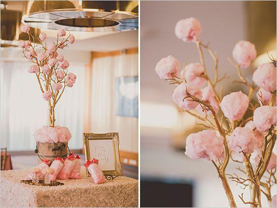 decoração de bodas de algodão doce