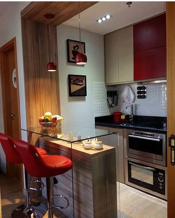 cozinha vermelha compacta